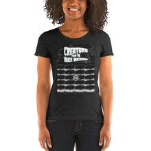 Load image into Gallery viewer, Movie The Food - Creature From The Black Macaroon Women's T-Shirt - Charcoal-black Triblend - Model Front