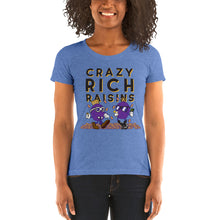 Load image into Gallery viewer, Movie The Food - Crazy Rich Raisins Women's T-Shirt - Blue Triblend - Model Front