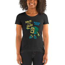 Load image into Gallery viewer, Movie The Food - Dawn Of The Bread Women's T-Shirt - Charcoal-black Triblend - Model Front
