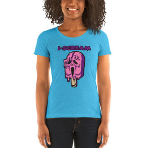 Movie The Food - I-Scream Women's T-Shirt - Aqua Triblend - Model Front