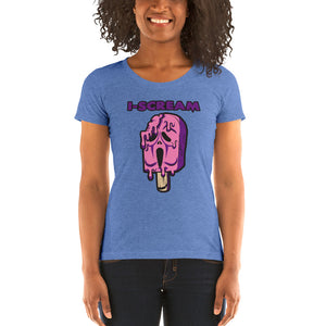 Movie The Food - I-Scream Women's T-Shirt - Blue Triblend - Model Front