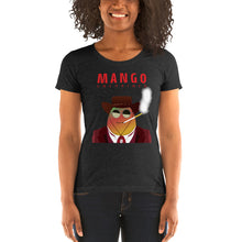 Load image into Gallery viewer, Movie The Food - Mango Unchained Women's T-Shirt - Charcoal-black Triblend - Model Front