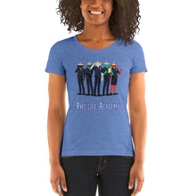 Load image into Gallery viewer, Movie The Food - Pholice Academy Women's T-Shirt - Blue Triblend - Model Front