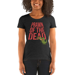 Movie The Food - Prawn Of The Dead Women's T-Shirt - Charcoal-black Triblend - Model Front
