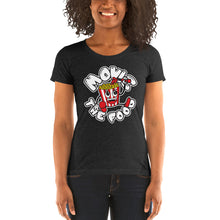 Load image into Gallery viewer, Movie The Food - Round Logo Women's T-Shirt - Charcoal-black Triblend - Model Front