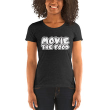 Load image into Gallery viewer, Movie The Food - Text Logo Women's T-Shirt - Charcoal-black Triblend - Model Front