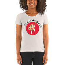 Load image into Gallery viewer, Movie The Food - The Karate Quiche Women's T-Shirt - Oatmeal Triblend - Model Front