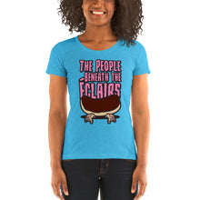Load image into Gallery viewer, Movie The Food - The People Beneath The Eclairs Women's T-Shirt - Aqua Triblend - Model Front