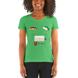 Movie The Food - V For Venfeta St. Patrick's Women's T-Shirt - Green Triblend - Model Front