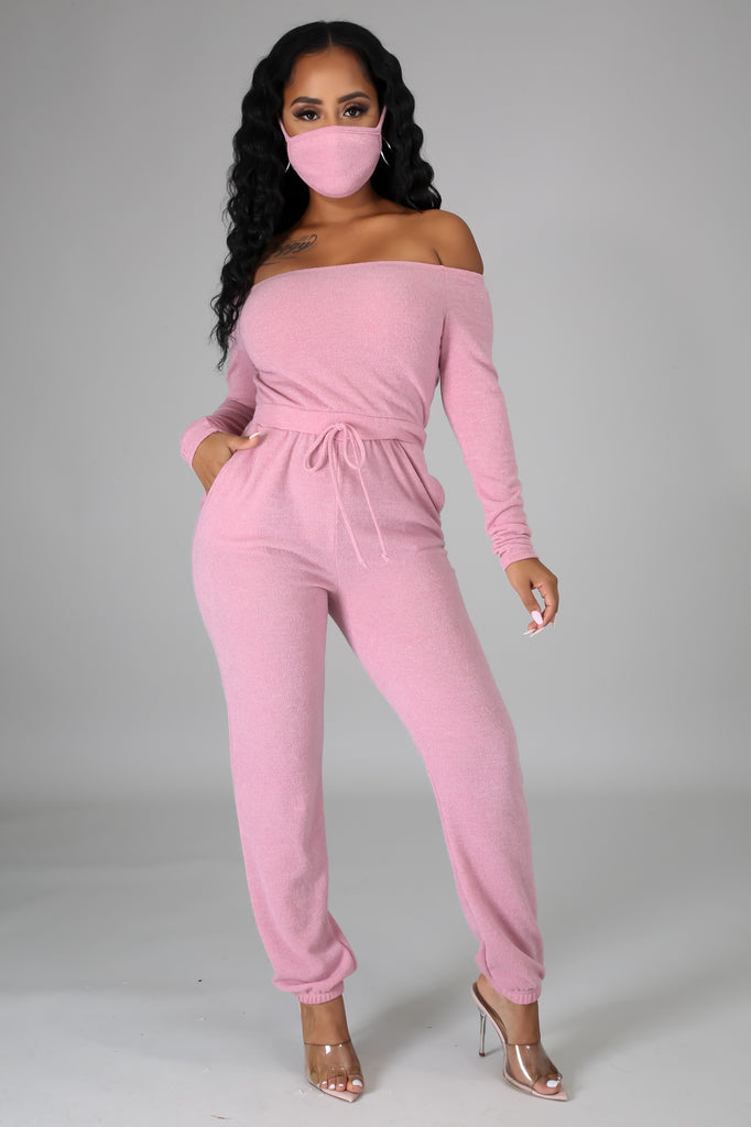 """2 Piece Sweet and Lovely Comfy Jumpsuit w/Mask (*Non Medical)"