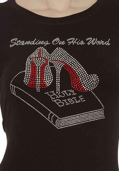 Standing on His Word - Fitted Rhinestone Tee *clearance*