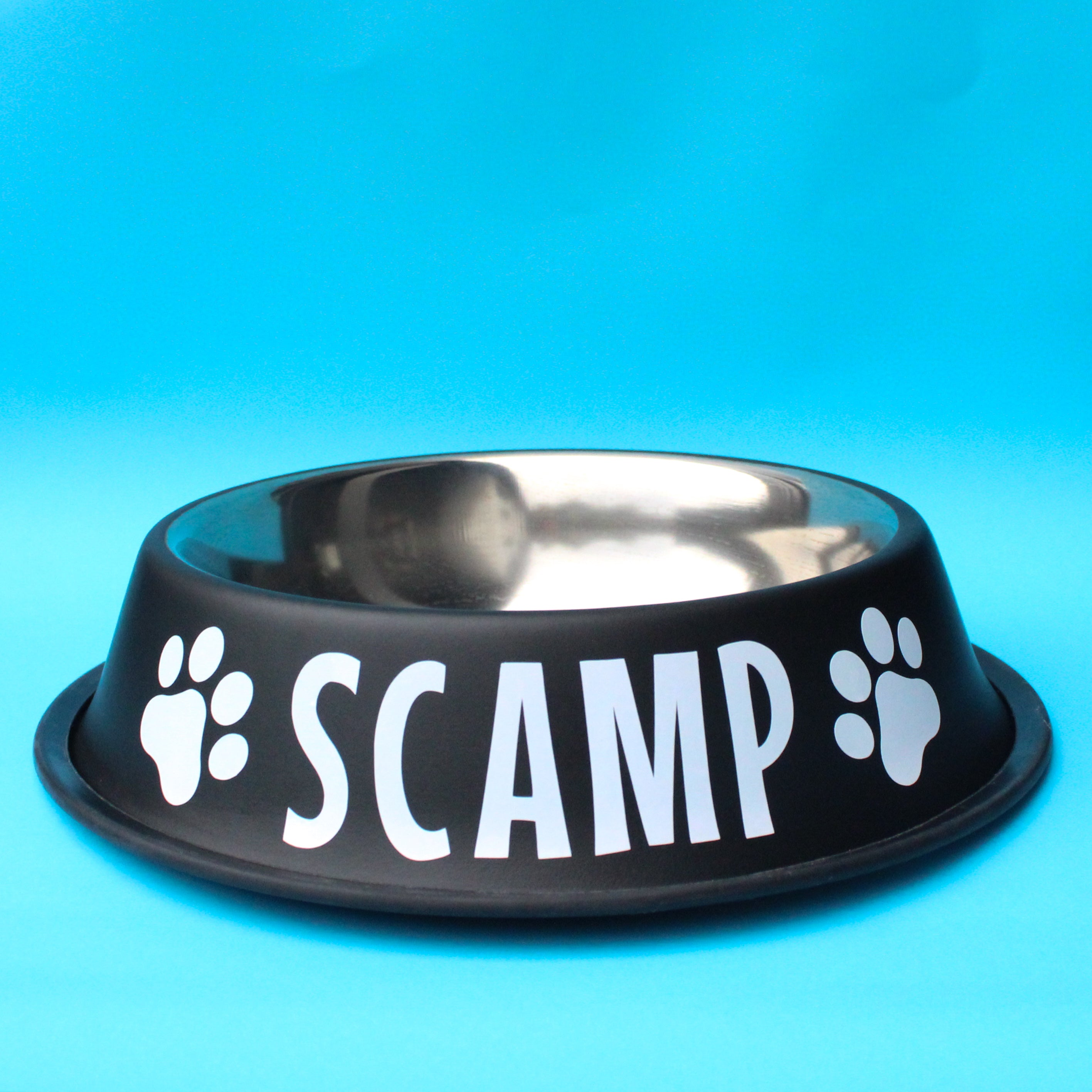 Personalised Matte Black Stainless Steel Dog Bowl