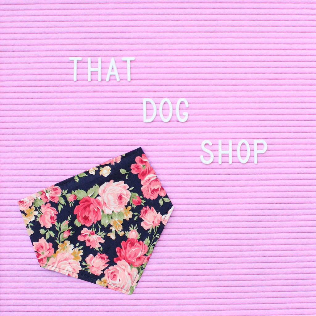 Dog Bandana - Navy Floral-That Dog Shop