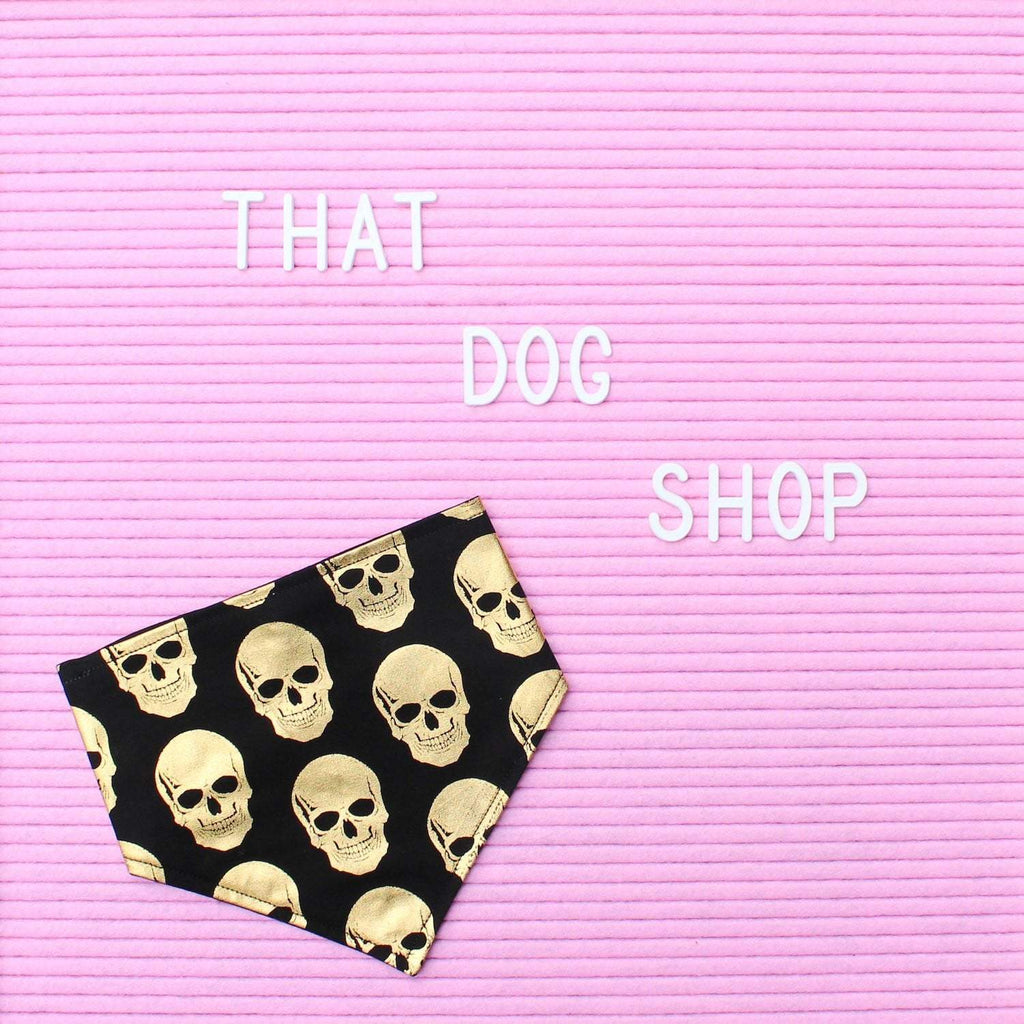 Dog Bandana - Black/Gold Skull Print-That Dog Shop