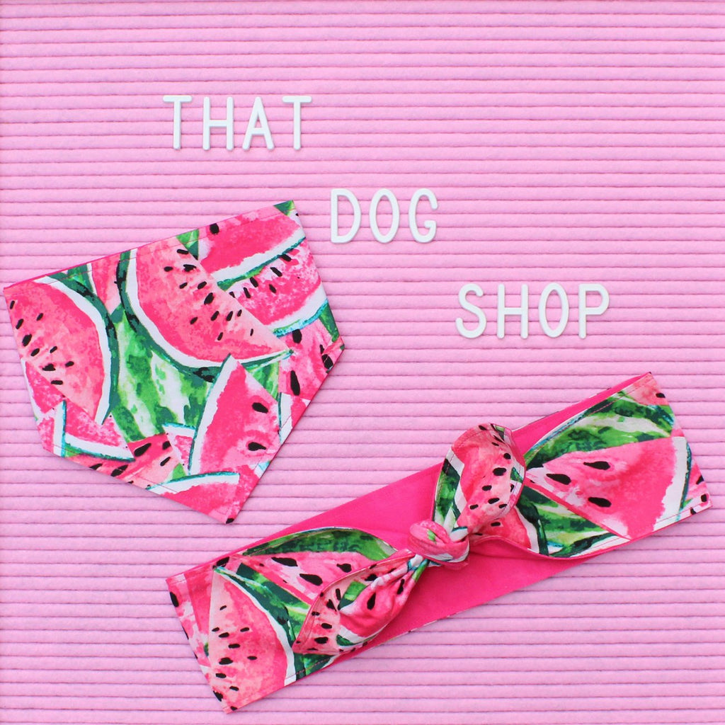 My Dog & Me Headscarf & Bandana Set - Watermelon-That Dog Shop