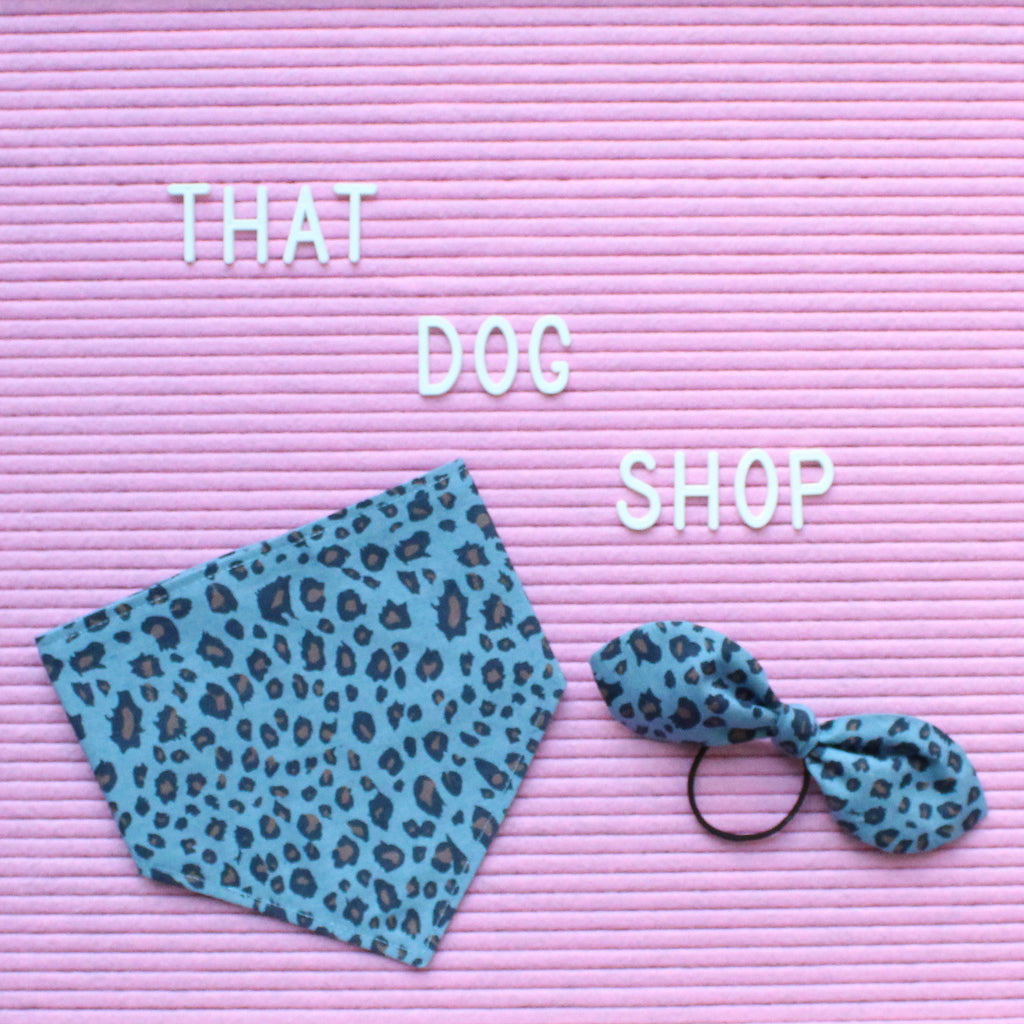 That Dog Shop My Dog & Me Bow & Bandana Set - Leopard Print Chambray Denim