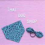 My Dog & Me Bow & Bandana Set - Leopard Print Chambray Denim