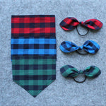 My Dog & Me Bow & Bandana Set - Blue/Black Check