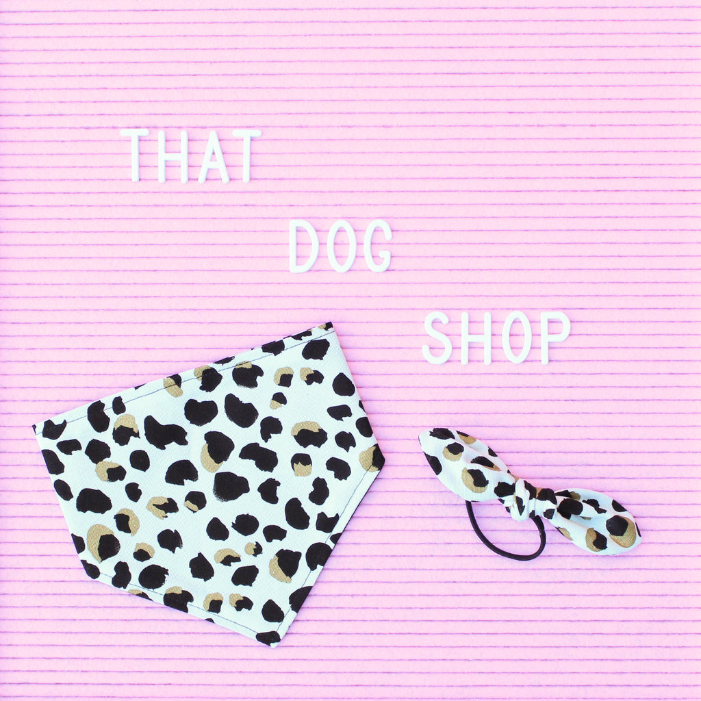 My Dog & Me Bow & Bandana Set - Leopard Print