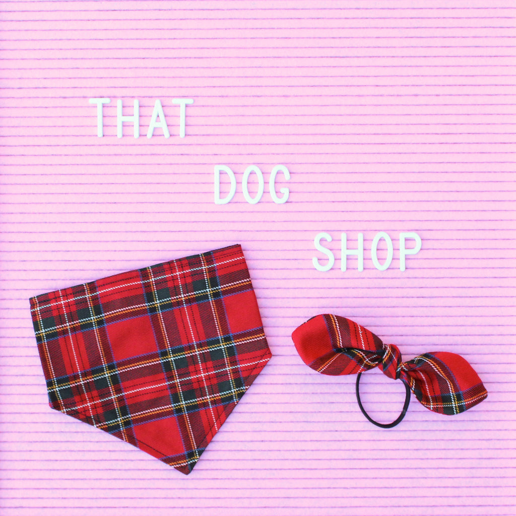 That Dog Shop My Dog & Me Bow & Bandana Set - Red Tartan