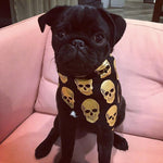 Dog Bandana - Black/Gold Skull Print