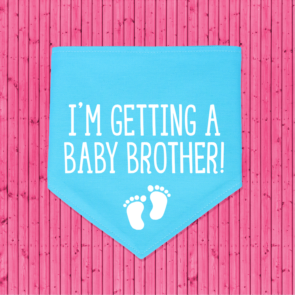 That Dog Shop Gender Reveal Announcement Dog Bandana I'm Getting a Baby Brother! - Blue