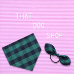 My Dog & Me Bow & Bandana Set - Green/Navy Check