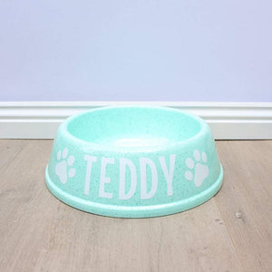 Personalised Mint Green Plastic Dog Bowl-That Dog Shop