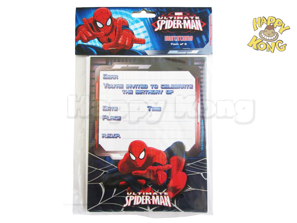 Ultimate Spiderman party invitation pack of 8 – Happy Kong NZ