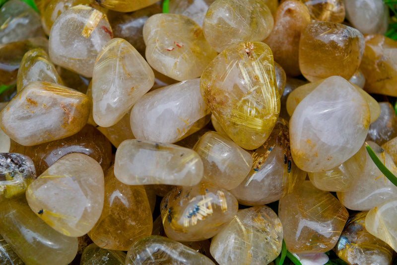 "Gold Rutilated Quartz Tumbled Stone  | Crystal Affirmation ""My mind is becoming highly receptive to the subtle energies of the Universe"""