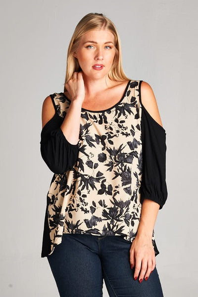Curvy- Split Decision Cold Shoulder Top