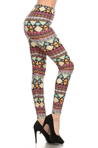 Regular Leggings- Geometric Tribal Pattern