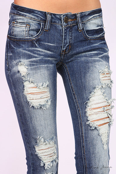 "Machine Jeans ""Hard For The Money"" Distressed"