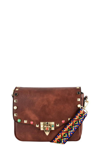 Designer Studded Messenger Bag