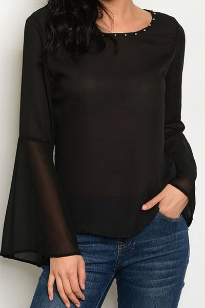 Ours Black Chiffon Top