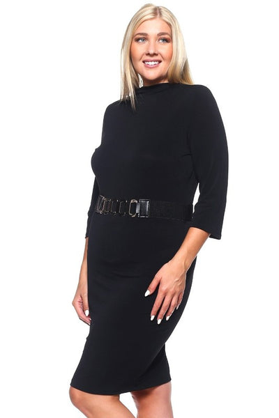 Curvy~ Taking Numbers Belted Dress