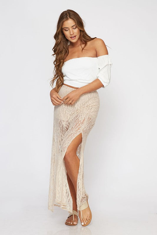 Parallel Line Maxi Lace Skirt