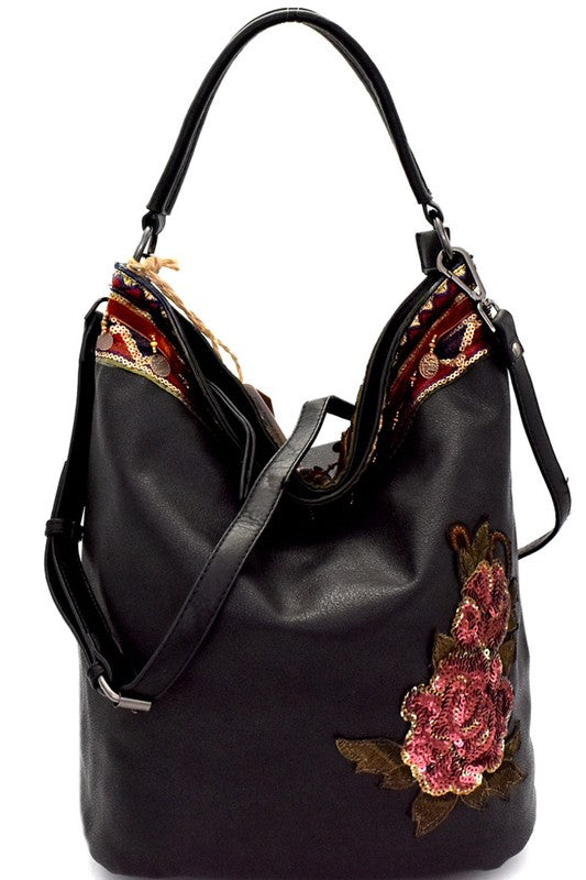 Sequin Embellished Flower Patch Bohemian Hobo