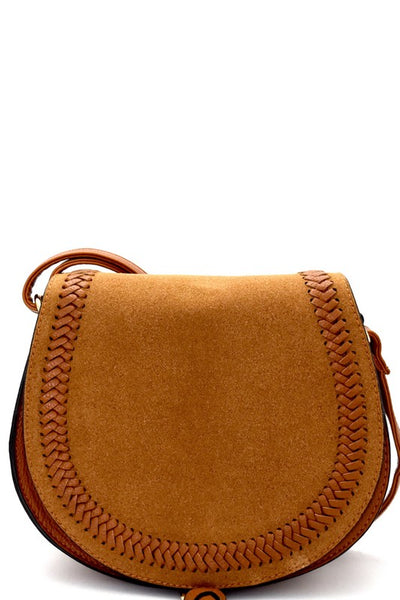 Felt-Suede Flap Woven Detail Bohemian Saddle Bag