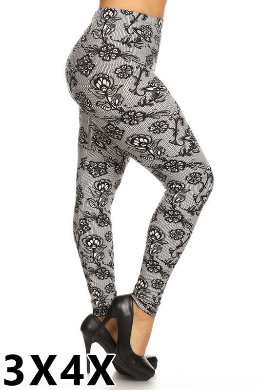 Curvy~ 3x/4x Grey Net Floral Leggings