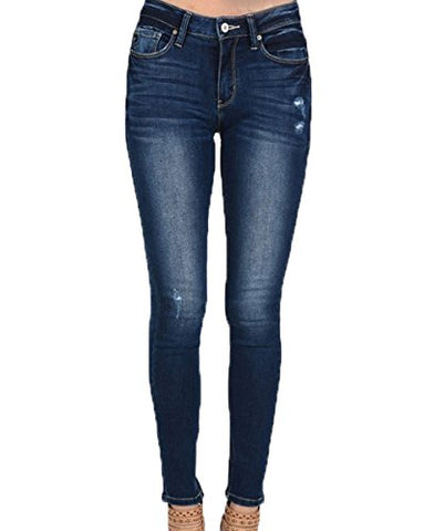 Kan Can Dark Light Distressed High Rise Skinny Jeans