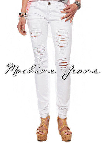 "Machine ""Hard For The Money"" Distressed Jeans-white"