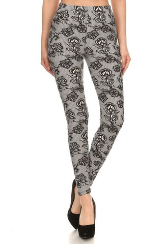 Regular Leggings~ Grey Net Floral Print