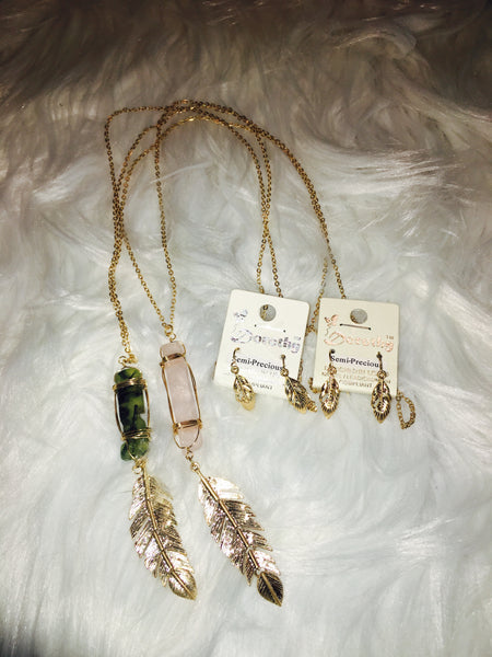 Precious Stone & Metal Feather Necklace Set