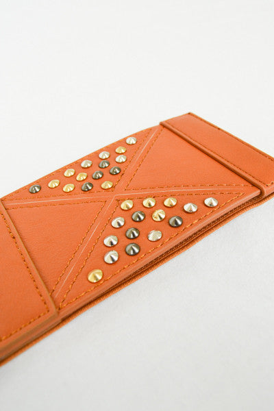 Elastic belt with triangle stitching and multi-metal studs