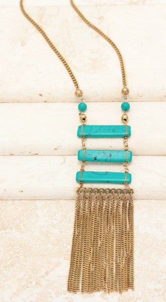 Turquoise Stacked Stone Necklace