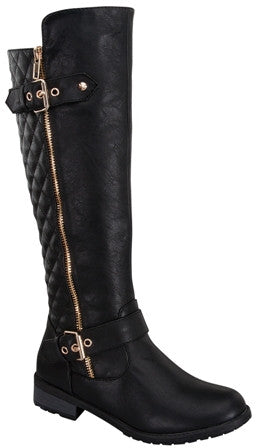 Black Buckle Knee High Boot