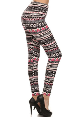 Regular Leggings- Capri length ~ Pink Geo print
