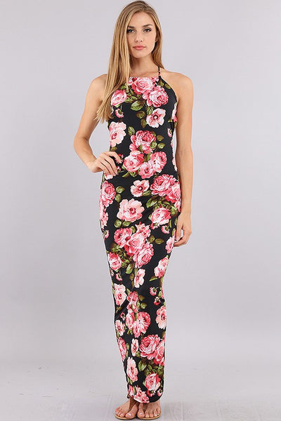 Midnight Garden Maxi Halter Dress