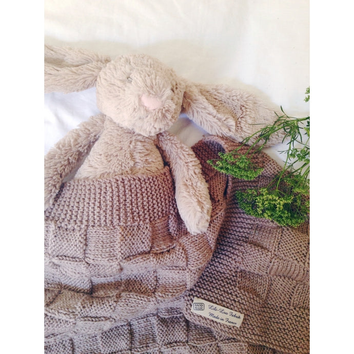 Baby merino wool blanket- Hand knitted in France- LiliLoo Fabrik for Cocotte French Lifestyle